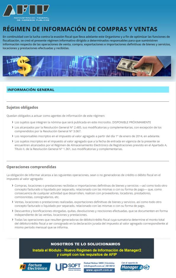 AFIP - Nuevo Regimen Compras Ventas